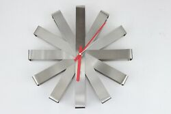 Umbra 12 Ribbon Brushed Stainless Steel Wall Clock 118070-590 Battery Operated