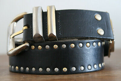 GIANNI VERSACE MENS LEATHER BELT BLACK GOLD & CHROME WITH MEDUSA HEADS AND STUDS