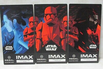 Star Wars The Rise Of Skywalker COMPLETE SET of 3 Collectible Regal IMAX Tickets
