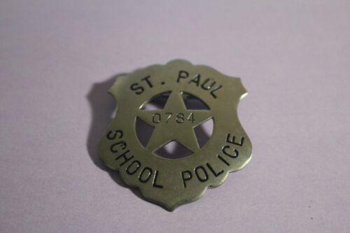 Vintage ST. PAUL SCHOOL POLICE Metallic Badge 0784