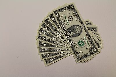 10 New Uncirculated  2  Two Dollar Bills from BEP Pack