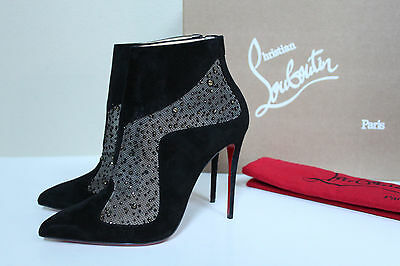New sz 7.5 / 38 Christian Louboutin Papillo Black Suede Pointed Toe Bootie Shoes