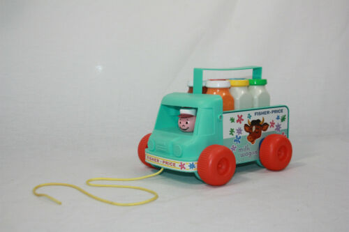 Fisher Price Retro Milk Wagon Pull Toy Truck 2010 Delivery & Working Bell (GUC)
