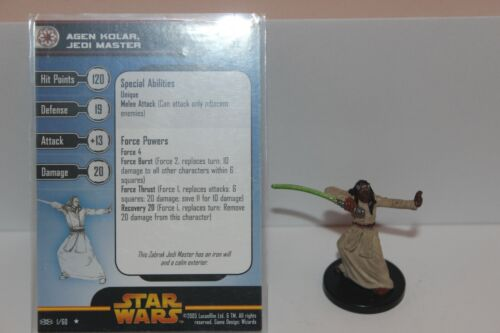 Star Wars Miniatures AGEN KOLAR JEDI MASTER #1 Revenge of the Sith RotS w/ Card