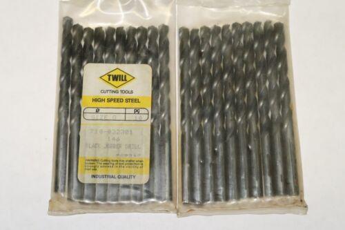 10-Pack TWILL Letter G Jobber Length Twist Drills, 135° Split Point, Black Oxide