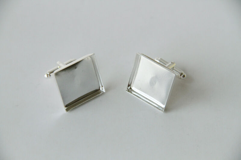 Cufflink Blank Hardware with 20mm Square Cabochon Setting Silver 20 50 100 pcs
