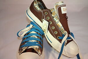CONVERSE CHUCK TAYLOR ALL STAR DOUBLE UPPER/LACES BROWN PLAID BLUE MENS 5 WMN 7