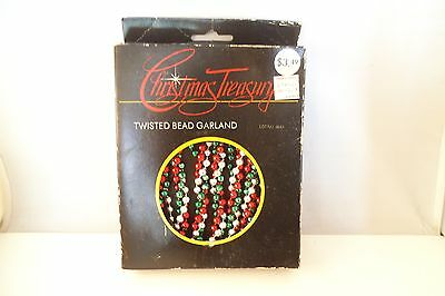 Vintage Twisted Bead Garland Christmas Red Silver Green Thrift Drug ()