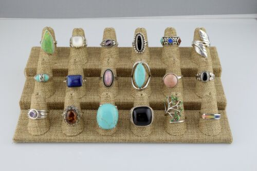Lot of 18 Sterling Silver Multi Stone & Statement Rings Bands Various Szs 6 7 8