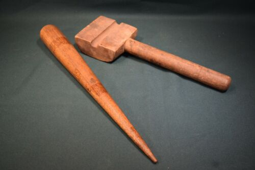 Mid 19th century sailors tools.  Fid , Marlin spike. and rope hammer