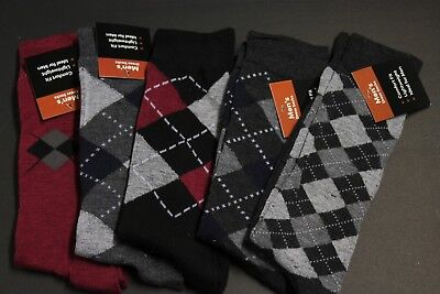 5 PAIRS MEN'S DRESS SOCKS SIZE 10-13  COTTON mix pattern CREW  SOFT   A ()