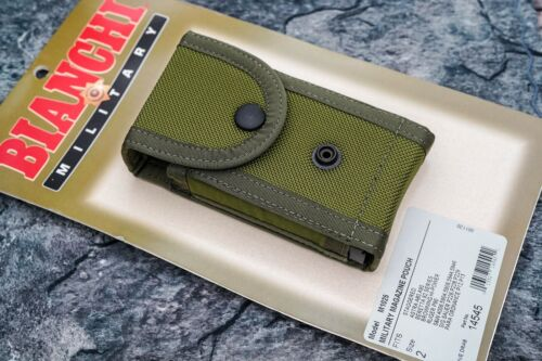 Bianchi Military M1025 Magazine Pouch, OD Green, Fits Staggered Mags, 14545