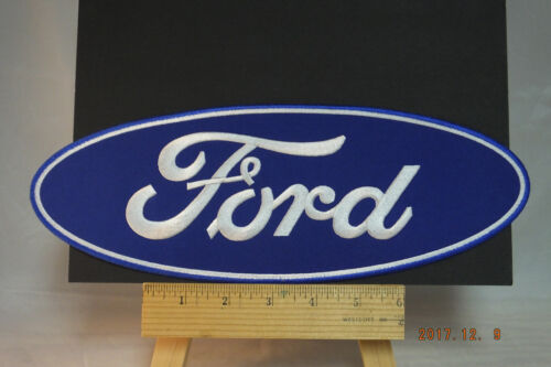 """Large Ford  Patch  Iron-On Embroidered Patch, 12""""x4"""" Oval"""