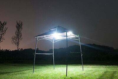BBQ Grill Gazebo Barbecue Canopy Tent 2-Tier Outdoor Shelter Sun Shade W/ Lights