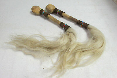 Pair of Vintage African? Chinese? Horse Hair Fly Swat Whisks Rawhide Over Bone