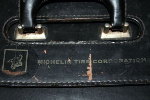 Vintage~MICHELIN TIRE Corporation~BLACK Leather~BRIEFCASE~Salesman Case?~RARE!!