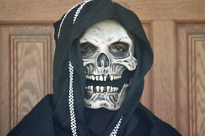 Halloween Costume Grim Reaper Skull Face Mask Glove Hooded Cape Robe Cloak Adult