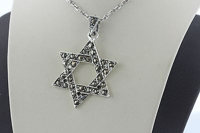 Vintage Marcasite Inlay Sterling Silver Jewish Star of David 6 Pointed Pendant