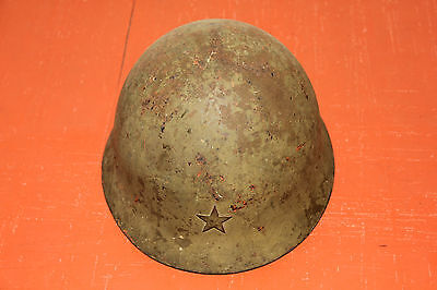 SUPERB - ORIGINAL WWII JAPANESE ARMY TYPE 90 COMBAT HELMET WITH STAR - WAR USED