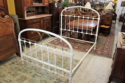 Bedroom Brass Bed - American Antique Iron & Brass White Full Size Bed Frame | Bedroom Furniture