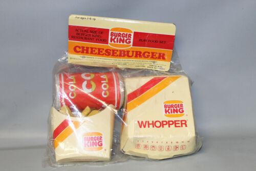 Vintage 1988 Burger King Cheeseburger Whopper Cola Fries Play Food Set NEW
