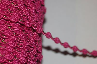 Clearance 5 yards  Hot PInk Mint GIMP Rosebud sewing doll craft trim 1/4