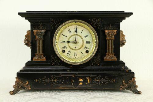 Victorian Antique Mantel Clock, Marble Grain Paint & Lions, Seth Thomas  #32978