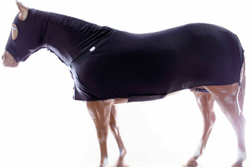 Horse Full Body Stretch Lycra Sleazy with Zipper Hood and Belly Wrap - Black