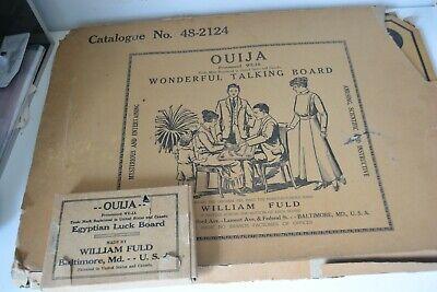 Wood Fuld Halloween Ouija Board & Planchett original Spirit Boxes Twenties