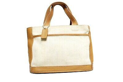 Coach Legacy Canvas and Leather Zip Top Mini Tote Bag - Beige - Sz. S - Mini Top Zip Tote
