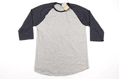 NOIZE CLOTHING GRAY BLACK XL MID SLEEVE BASEBALL TEE SOFT TSHIRT MENS NWT NEW
