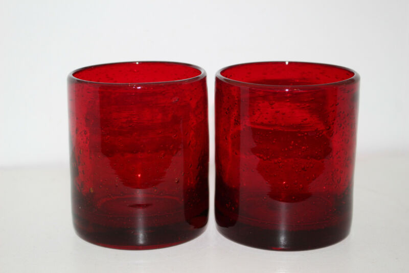 """2 MEXICAN RUBY RED BLOWN GLASS 4"""" DOUBLE OLD FASHIONED TUMBLERS"""