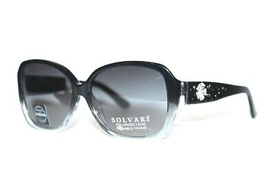 NEW SOLVARI BONITA BLACK POLARIZED SWAROVSKI CRYSTAL SUNGLASSES RX  51-19-135 (Swarovski Sunglasses)