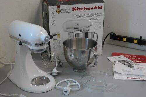 KitchenAid Artisan KSM150PSWH 10 Speed 5 Qt Stand Mixer Bowl & Attachments 27B