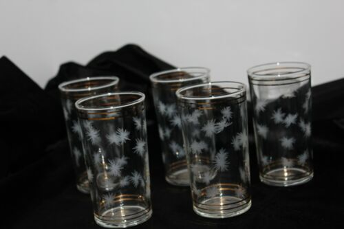 STARBURST ATOMIC ASTERISK  MID CENTURY MODERN gold band SET OF 5 GLASSES  MCM