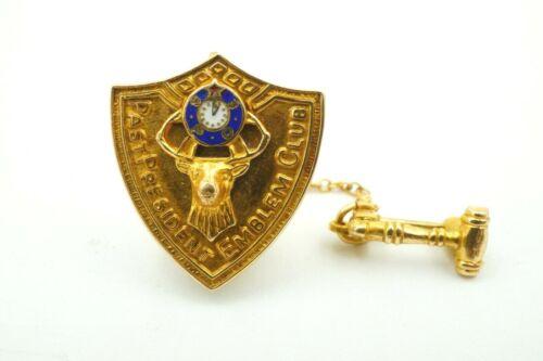 Vintage Elks Lodge B.P.O.E. 14k Gold Past President Emblem Club Lapel Pin Badge
