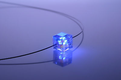 Damen Kristall Kette Halskette Schmuck Collier leuchtete Schmuck LED Halskette