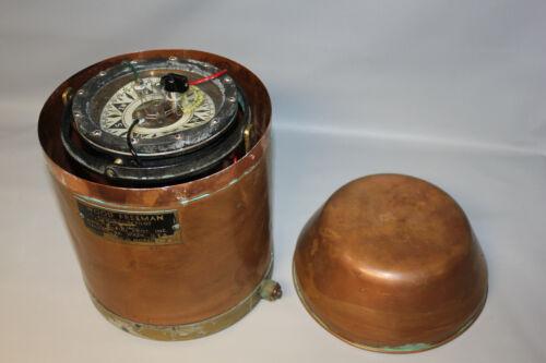 Antique Vintage Nautical Ship Wood Freeman Autopilot 420A In Copper Housing
