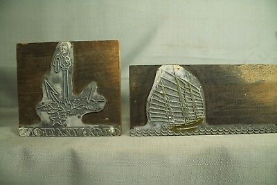 Vtg Printing Press Print Wood Blocks Nautical Sailing Ship Chain Anchor