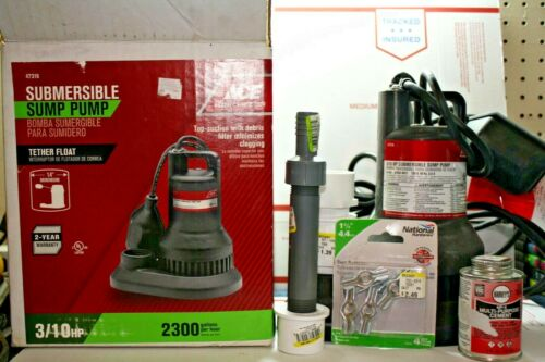 ACE - Submersible Sump Pump 47316; 3/10 HP, 2300 GPH w/ Box & Extra Fittings