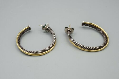 David Yurman Sterling Silver and 18K Gold Crossover Cable Hoop Earrings