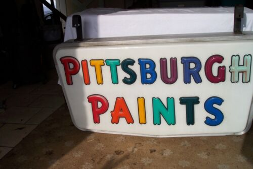 LARGE KOLUX WORKING  LIGHTED HANGING SIGN PITTSBURGH PAINTS VINTAGE KOKOMO ID