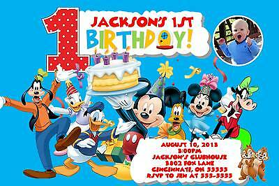 Mickey Mouse Clubhouse Custom Designed Birthday Party Invitation Add - Photo Mickey Mouse Invitations