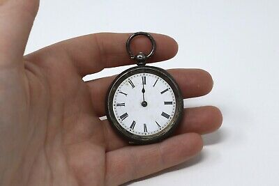 Ladies Antique Victorian Sterling Silver Key Wind Fob Pocket Watch A/F #28908