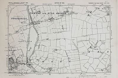 East Yorkshire Map - Ordnance Survey Emergency Ed. 1938 - Tickton & Hull Bridge
