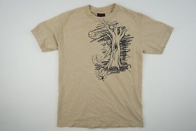 Reflection Men's Small Beige Tree Leaves Fall Nature Graphic T Shirt Skater EUC