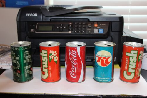 OLD VINTAGE USED COLA 7 UP CANS LOT OF 5 PIECES