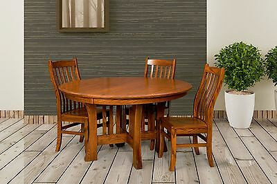 Amish Round Dining Table Arts Crafts Mission Base Solid Wood Leaf 54u0026quot;,  ...