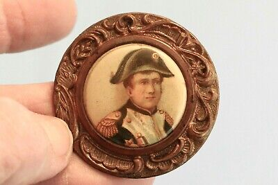 Antique Celluloid Button French Emperor Napoleon Bonaparte