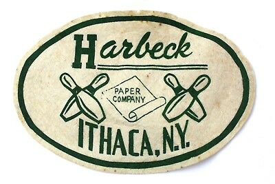 VTG Harbeck Paper Company Ithaca NY Patch With Bowling Pins Free Fast Shipping ()